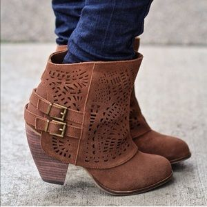 Cognac Rust Perforated Round Toe Booties